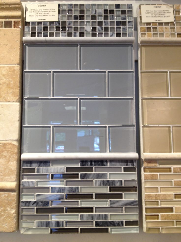 Like The Browns On The Right Gray Blue Glass Subway Tile
