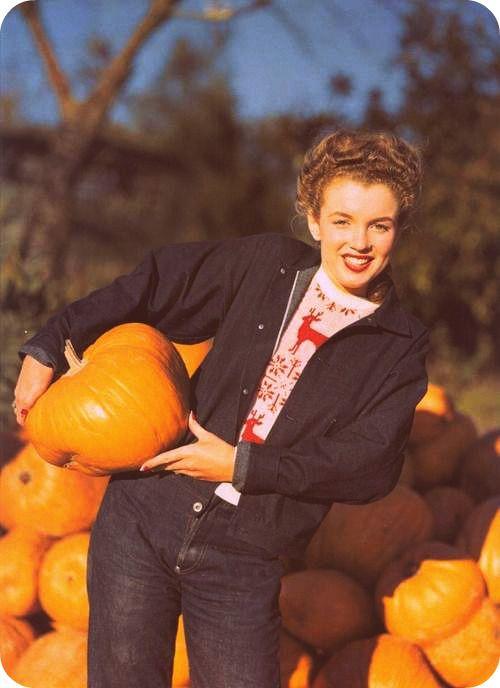 Marilyn Monroe.  Brunette and in a pumpkin patch. Happy Fall!