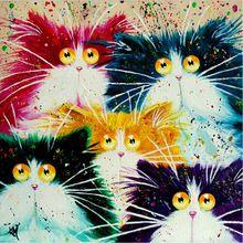 Thuis schoonheid diy olieverf by numbers decoratieve canvas muurschildering kalligrafieborstel acryl coloring katten cartoon y068(China (Mainland))