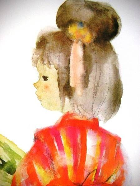 いわさきちひろ「羽子板の少女」オフセット複製・木製額付即決_かわいい表情