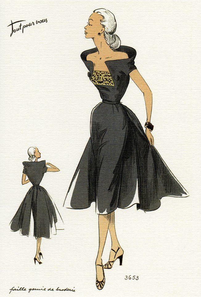 1950's Fashion Illustrations (Visual Communication) -Attitüde, Haltung, Generation Silver