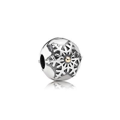 Two tone snowflake clip. $60 #PANDORA #PANDORAcharm #ChristmasCollection