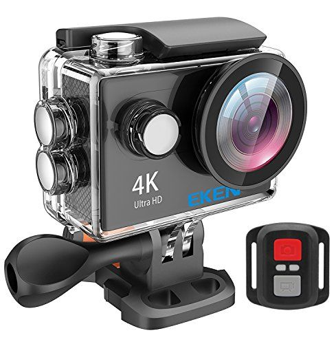 EKEN H9R 4K Action Camera, Full HD Wifi Waterproof Sports Camera with 4K25/ 1080P60/ 720P120fps Video, 12MP Photo and 170 Wide-Angle Lens, includes 18 Mountings Kit, 2 Batteries (Black)