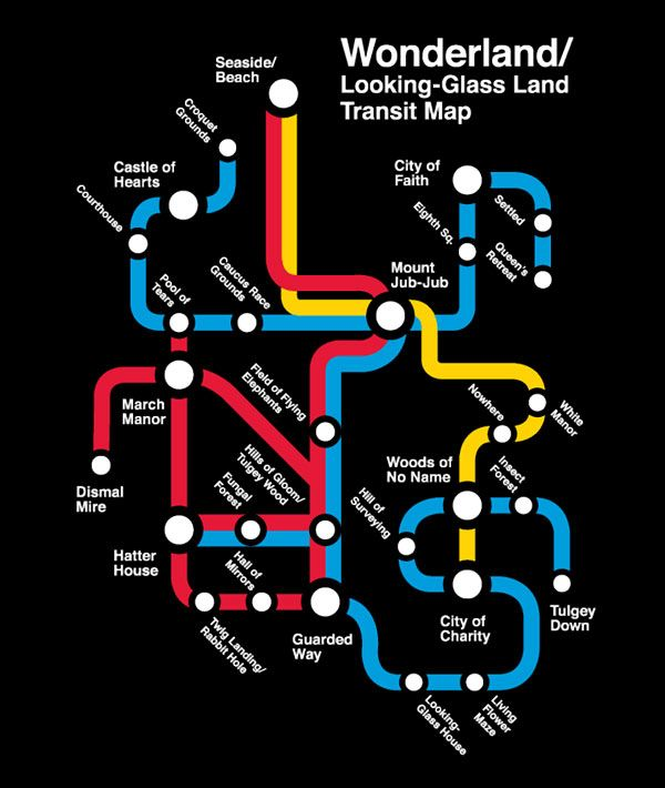 """'Then it doesn't matter which way you go,' said the Cat."" Alice in Wonderland as a Subway Map 