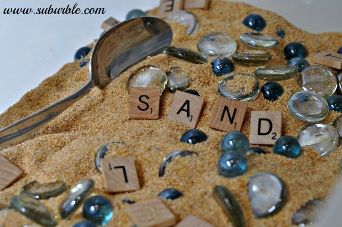 Make Your Own Sensory Box - Suburble. Use Scrabble tiles for scavenger hunts and letter recognition games!