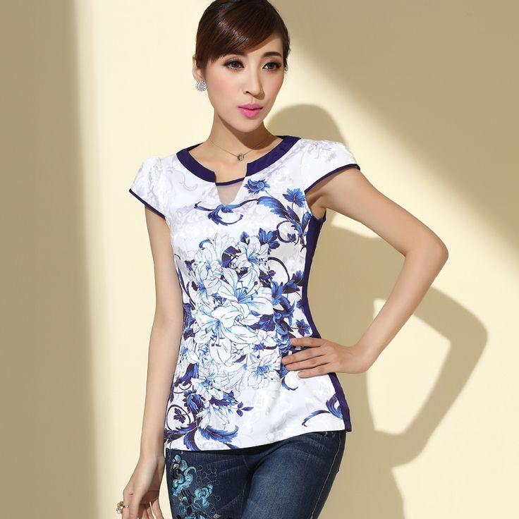Beautiful Magnolia Flowers Cheongsam Style Shirt - Chinese Shirts & Blouses - Women