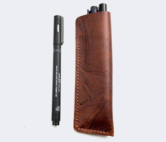 Leather Pen Pouch Personalized Pen Case Architecture Drawing