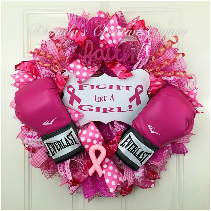 breast cancer awareness deco mesh wreath breast cancer wreath fight like a girl wreath - Breast Cancer Decorations