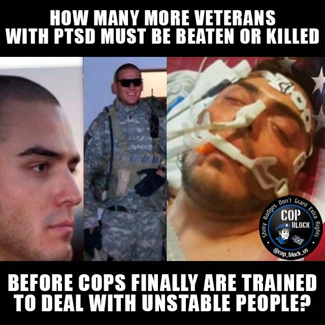 No cop without training to deal with PTSD and mental illness should be let to go in the streets.  The family of Kyle Cardenas, a veteran suffering PTSD delusions, called the VA Crisis hotline on Sept. 12, 2015, and asked for medical help for their son. The family knew they can not trust police that's why they specifically asked for a crisis team instead trained to handle situations like this. Instead, they got untrained cops from the Gilbert Police department. The stupid bastards didn't…