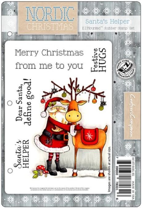 Crafter's Companion - Nordic Christmas Cling Rubber Stamp - Santa's Helper