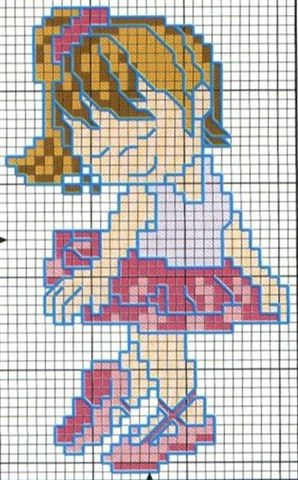 Cross-Stitching Chart: Cute Little Girl Ballerina - and a nice easy chart, too. ;) Mo