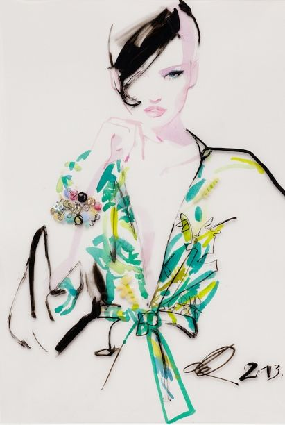 Fashion illustration by David Downton, 2012, Neiman Marcus.