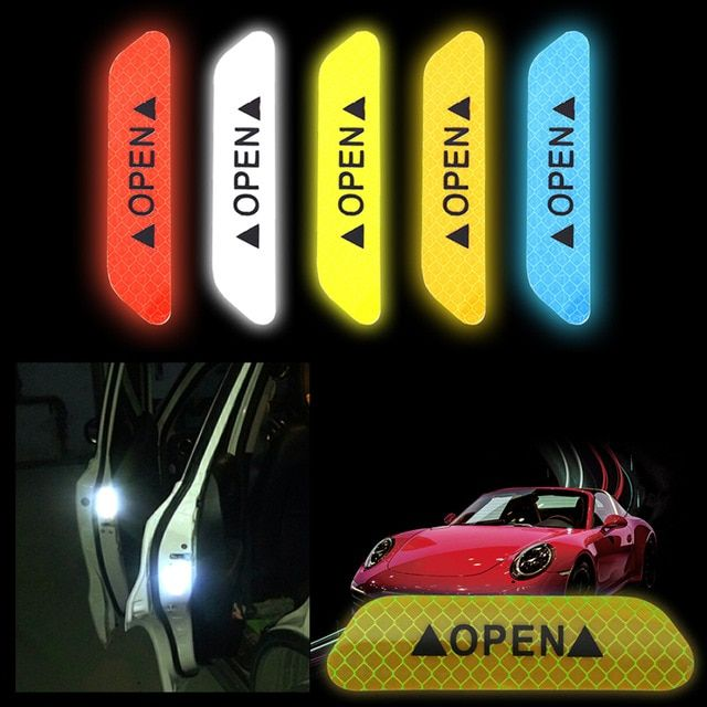 4Pcs Tail Auto Open Sign Reflective Tape Safety Car Door Stickers Warning Mark