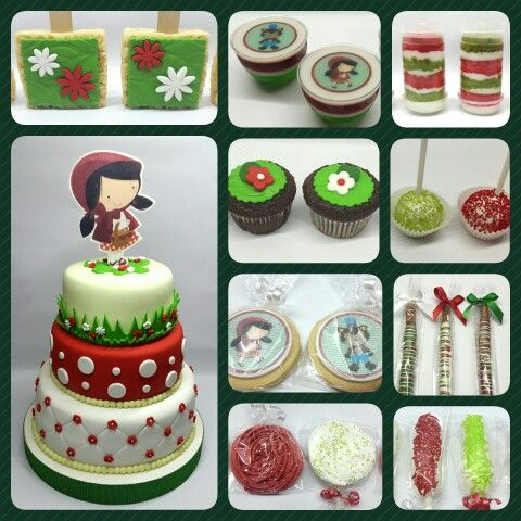 Combo Caperucita Roja #PrityCakes #fondantcakes #edibleprints #Cupcakes #gellyshot #malvapops #cakepops #RicekrispyPops #Chocoptretzels #galletas #merenguepops