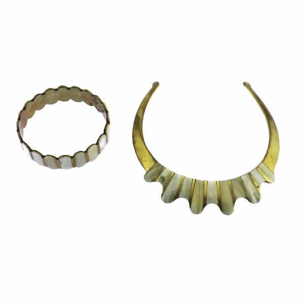 Mother of Pearl Brass Cleopatra Collar Necklace and Bracelet Set