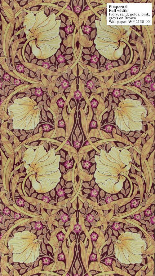 """""""Pimpernel"""" designed by  William Morris in 1876. (I'm considering this paper, in this colourway, for the front parlour)"""