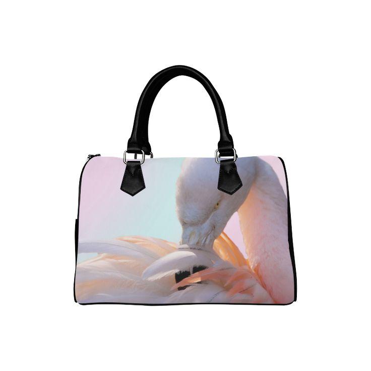 Pink Flamingo Pink Boston Handbag. FREE Shipping. #artsadd #bags #flamingos