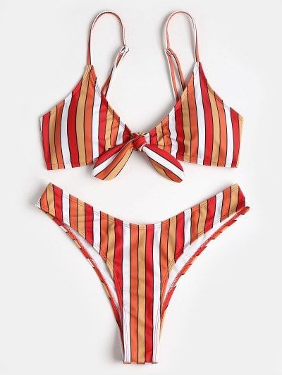 En Ropa Bikini Pierna Con ContrasteAna De Anudada Rayas Melissa qpLSjUzMVG