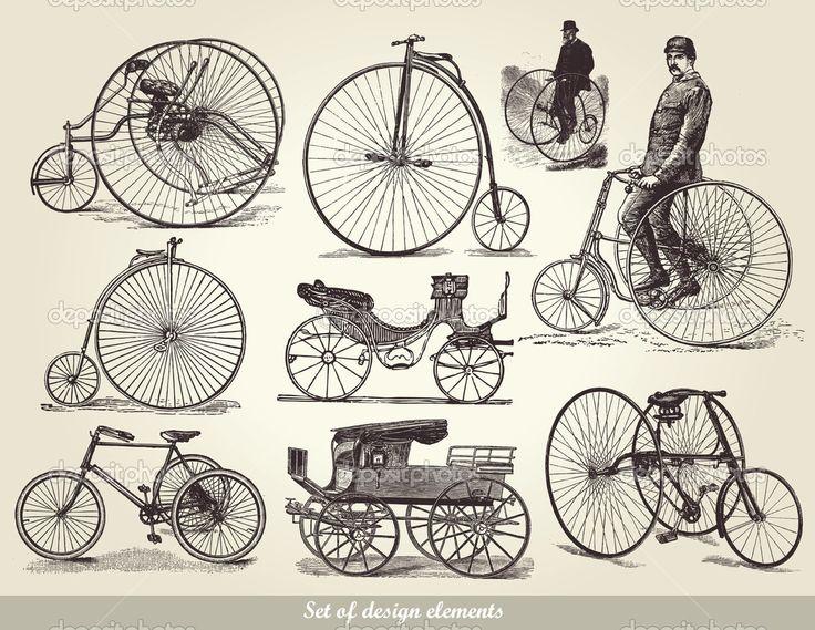 Векторный набор старые велосипеды - Векторная картинка: 5281397