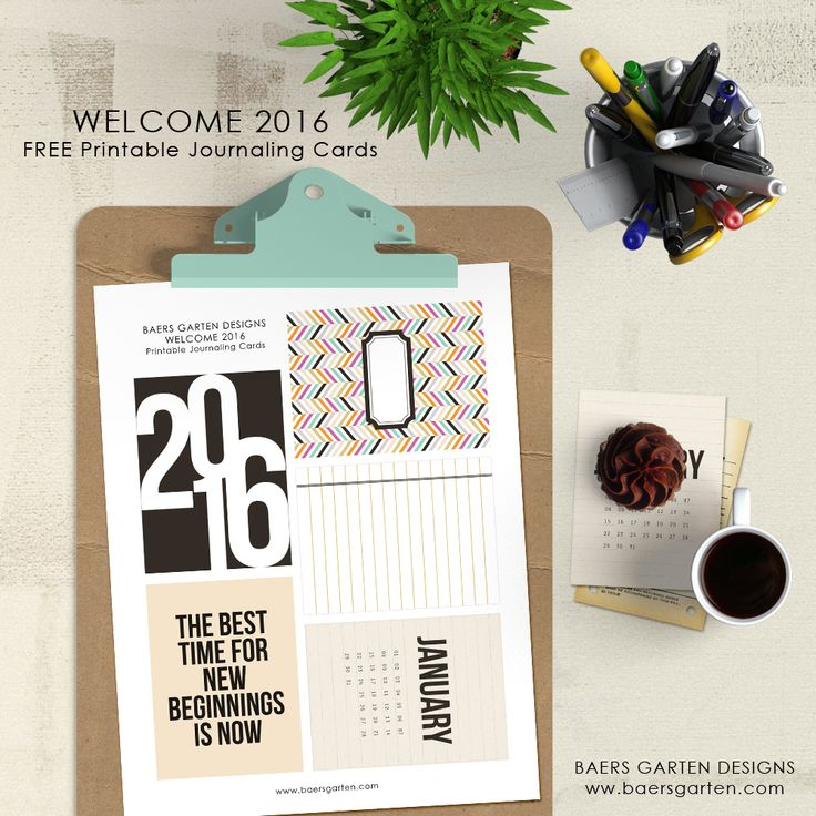 Free printable 2016 January Project Life journalling cards. Get more #freeprintables on https://www.pinterest.com/hre/