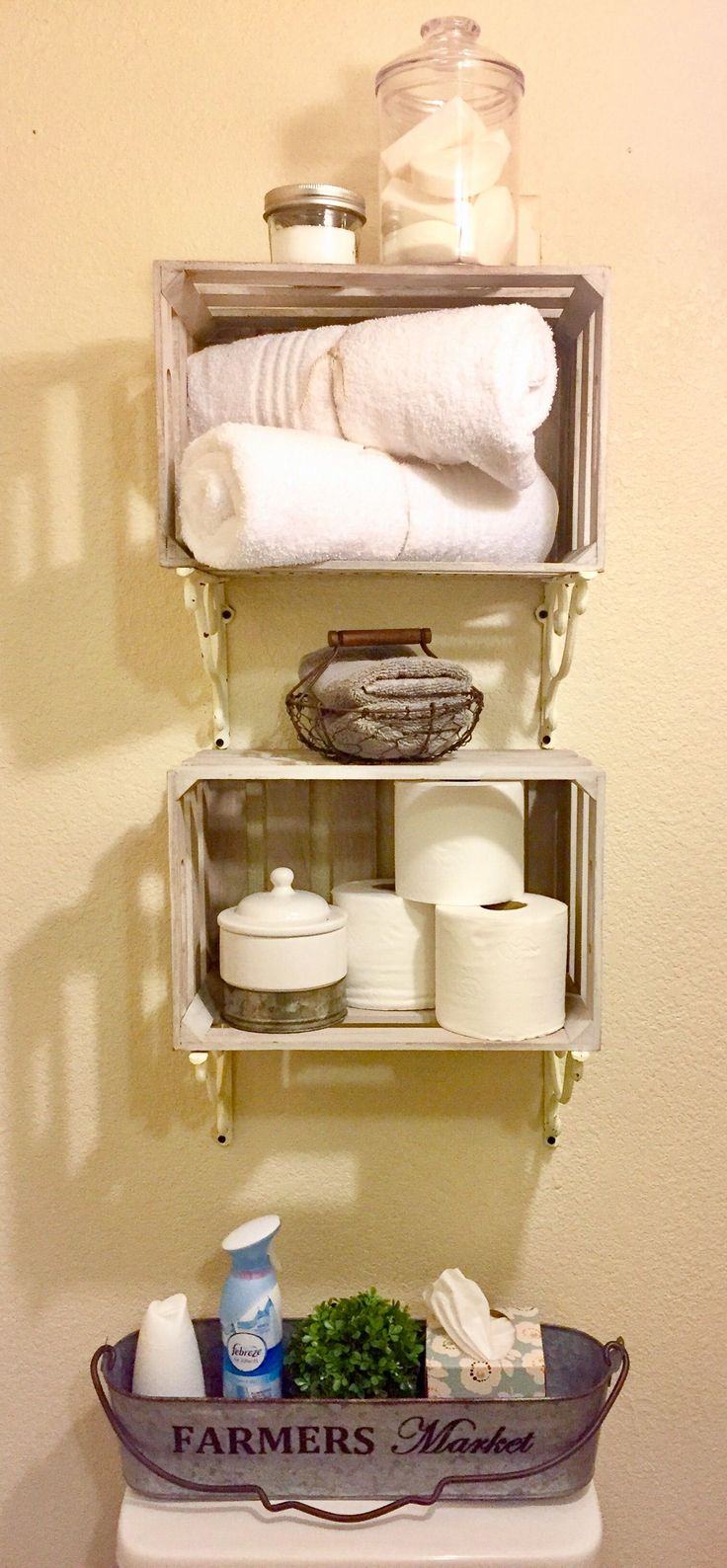 French country bathroom wall decor - French Country Farmhouse Bathroom Storage Shelves Decor