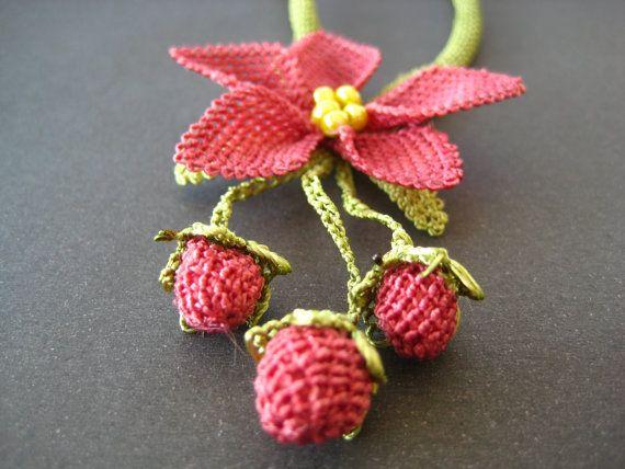 crochet flower necklace turkish oya necklace handmade by EnjOOya