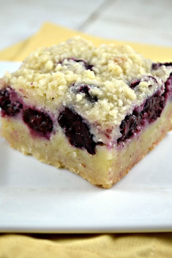 Blackberry Pie Bars|| I cut the sugar way back in this recipe, but it probably would have been better a bit sweeter.