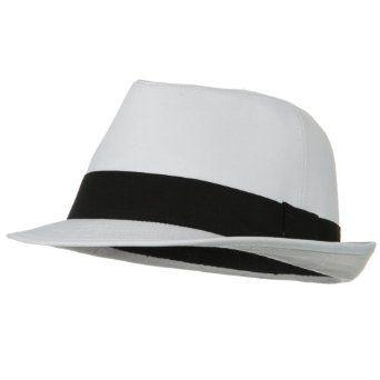 Extra Big Size Banded Cotton Fedora Hat - White Black Band (Over Size XL - XXXL): Fedoras Hats, Extra Big, Men Fedoras, Cotton Fedoras, Size Band, Big Size, White Black, Black Band, Band Cotton