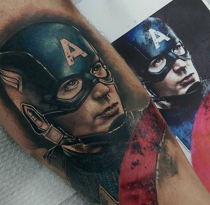 Captain America Tattoo | Tattoos | Hyper realistic tattoo ...