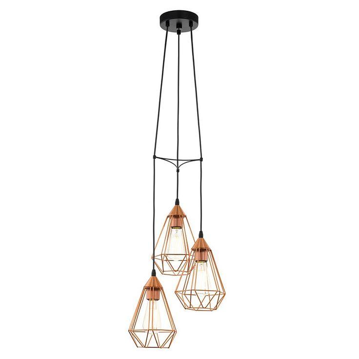 Eglo Tarbes Hanglamp Koper 3 lamp - 31 cm