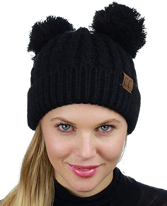 215f2bd23a7 C.C 2 Ear Pom Pom Cable Knit Soft Stretch Cuff Skully Beanie Hat ...