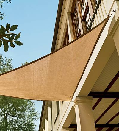 Coolaroo® Sail Shades --like how these are simply clipped to the house (no poles to mess with)