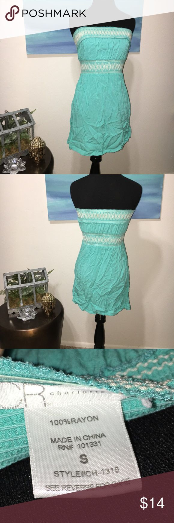 """Gorgeous Aqua Charlotte Russe Strapless Dress Has an empire waistband. Aqua with white accent detailed stitching. Both the top band and the waistband stretch. Approx. 25"""" long. Has an amazing quality feel for being from Charlotte Russe. No rips or stains comes from a smoke free home. Charlotte Russe Dresses Strapless"""