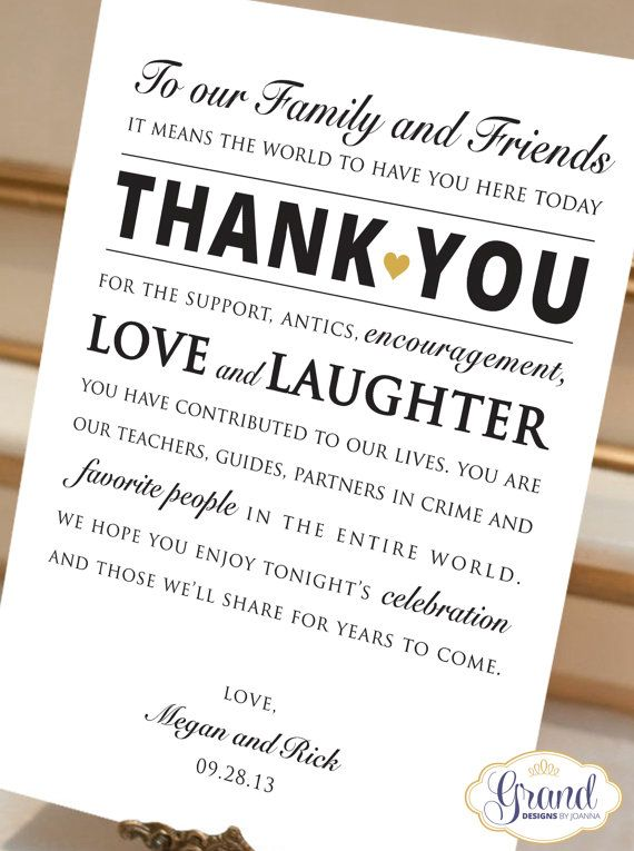 Digital File Personalized Wedding Reception Thank You Card