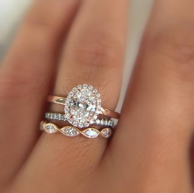 Sylvie Diamond Halo Engagement Ring (SY293) with stackable bands