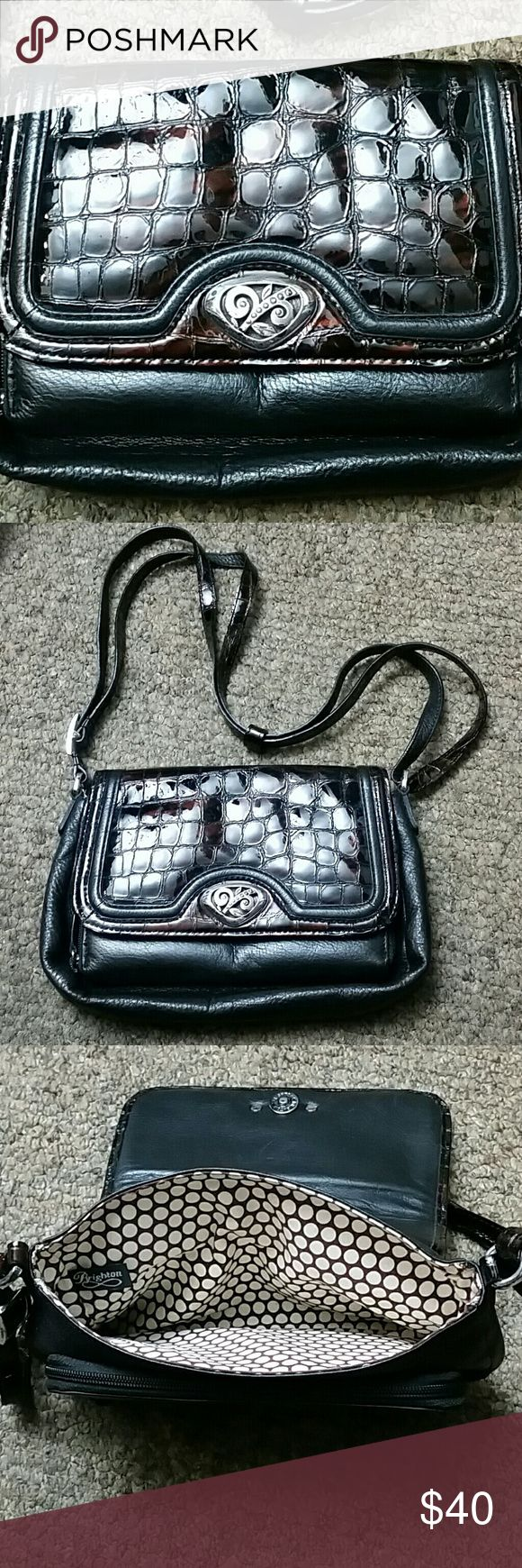 Black/Tortoise Brighton Purse Vintage Brighton Purse with long adjustable strap. Zip open wallet in front. Magnetic snap closure. Great used condition!! Brighton Bags Crossbody Bags