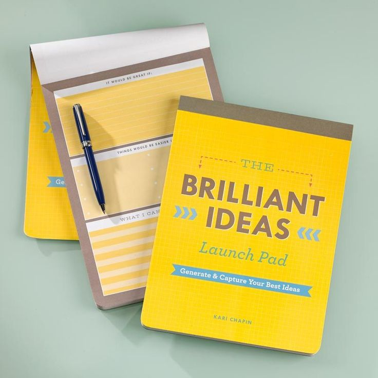 The Brilliant Ideas Launch Pad •  A notepad that enhances creativity Generate your best ideas yet with this colorful notepad to guide your brainstorming. Designed by best-selling author, artist and teacher Kari Chapin, this pad offers 10 different ways to brainstorm, ideate and capture your ideas so nothing falls through the cracks. Unleash your imagination with visual brainstorming, idea funnels, mind maps and more! • www.Levenger.com • #Notepad #Paper #Stationary #Ideas