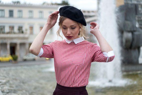 Back Buttons Shirt (Salmon Pink)/ Vintage shirt/ Retro shirt/ Blouse / Striped shirt