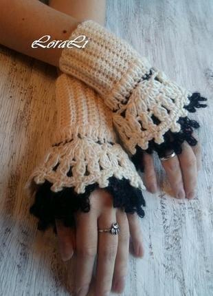 Митенки. перчатки без пальцев. митенки ручной работы+ за+100+грн.