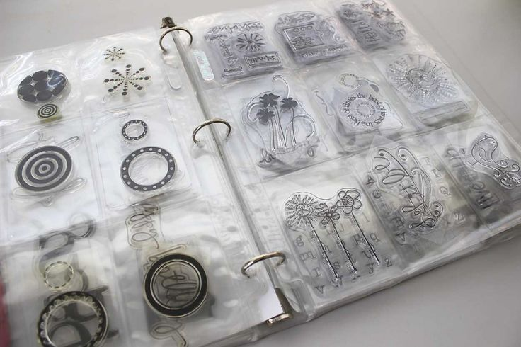 Clear Stamp Storage Idea. Keeping the small stamps in baseball card sized page protectors inside a 3-ring binder.