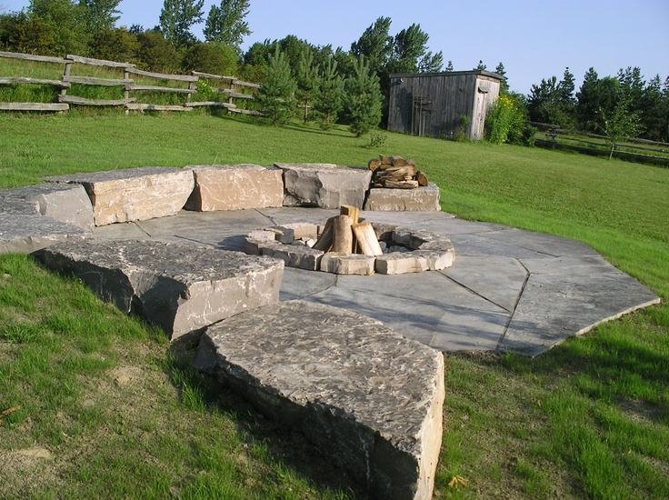 Fire Pit Built Into The Slope With Armourstone And Jumbo