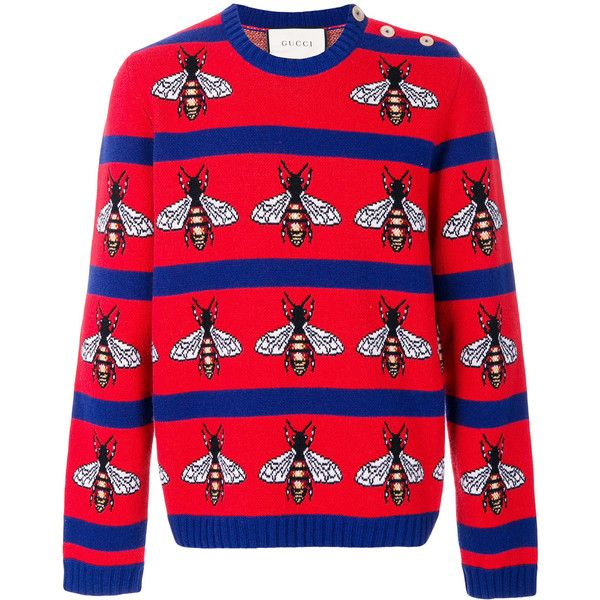 Gucci Bee intarsia jumper ($1,300) ❤ liked on Polyvore featuring men's fashion, men's clothing, men's sweaters, red, mens striped sweater, mens button sweater, mens red sweater, gucci mens sweater and mens patterned sweaters