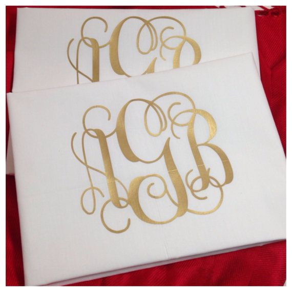 A pair of personalized, monogram pillowcases is the perfect wedding, birthday or housewarming gift. Our vines/interlocking monogram design is