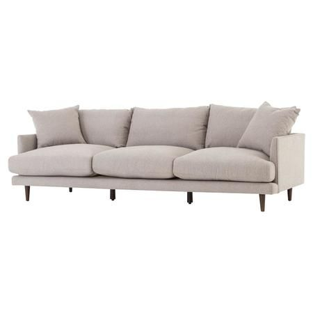 "Asta Modern Scandinavian Beige Cushion Back Sofa 98"""""