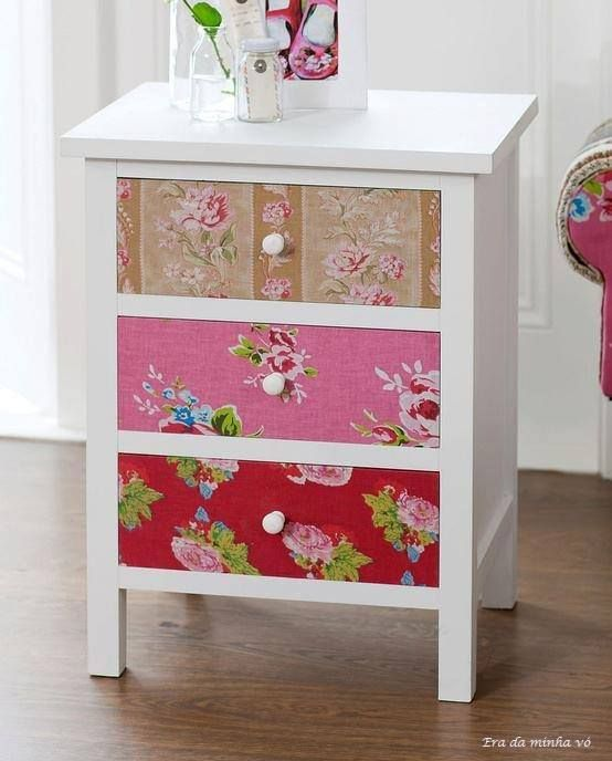 DIY: Cover the drawers of a white nightstand with colorful fabric