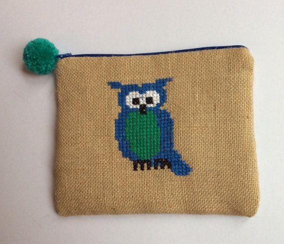 Pencil case blue owl burlap pouch bag cross stitch by Apopsis