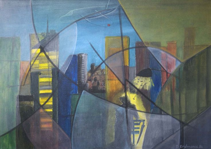 Geo City - Original painting in mixed media: acrylic, charcoal and pastels on stretched canvas