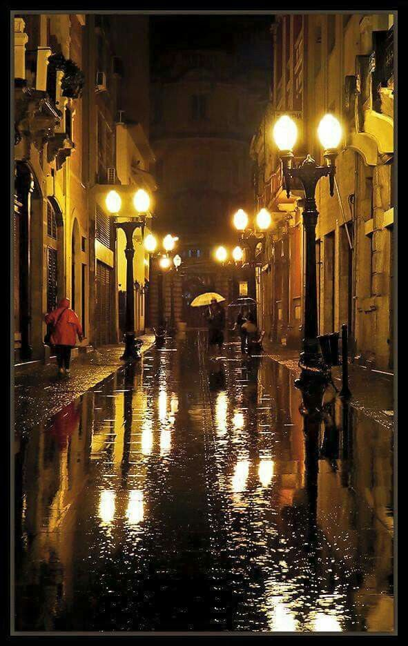 The city on a rainy night - quiet and glistening.