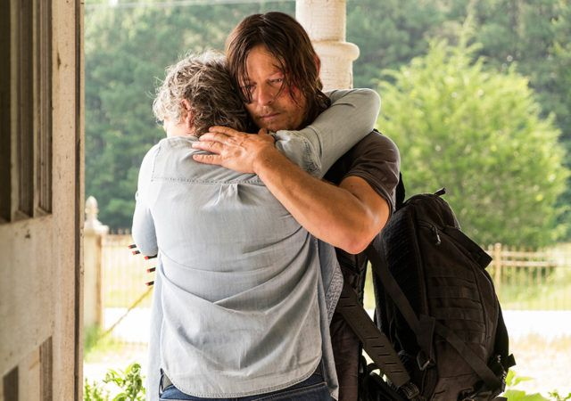 The Walking Dead Season 7 Episode 10 'New Best Friends' - Carol Peletier (Melissa McBride) and Daryl Dixon (Norman Reedus) hugging each other after Daryl finds her...the reunion. Photo by Gene Page/ AMC