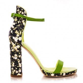 sandale dama din piele naturala 1704 lacramioare cu verde